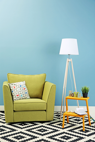 Modern tall lamp in colourful living room - Fabric upholstery steam cleaning Brisbane